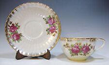 Iridescent Tea Cup and Saucer - Dark Pink Roses - Gold Trim