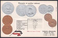 COINS & NATIONAL FLAG of EAST AFRICA COLONIE ALLEMANDE KOLONIE Postcard EMBOSSED