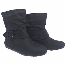 NEW Women's Comfort Faux Suede Round Toe Flat Low-Calf Boots Shoes Size 5 - 10