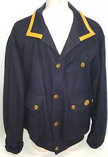 FACONNABLE PARIS Albert Goldberg Mens Bomber Wool Leather Jacket Coat Sz XL Blue