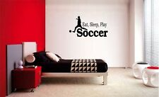 EAT SLEEP PLAY SOCCER BOY LETTERING DECAL WALL VINYL DECOR STICKER ROOM SPORTS