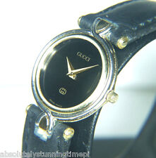 Beautiful!  Gucci 4500L Vintage Luxury Women's  Watch Gold Black Face  18k YGP