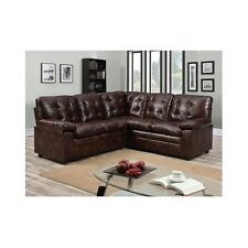 Faux Leather Brown Sectional Sofa Corner Upholstery Comfortable Padded Tufted