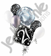 7 pc 21st Elegant Happy Birthday Sparkles Balloon Bouquet Black Damask Silver