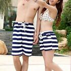 Couples Striped Short Pants Womens Mens Beach Surf Board Rope Swim Shorts M12