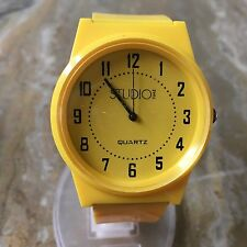 Nice Studio Time Men Lady Yellow Large 44mm Analog Quartz Watch Hour~New Battery
