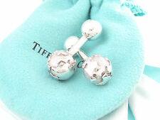 TIFFANY & CO SILVER GLOBE CUFFLINKS CUFF LINK LINKS BOX POUCH CARD RIBBON