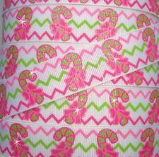 7/8 CHRISTMAS GLITTER CHEVRON CANDY CANE LIME PINK GROSGRAIN RIBBON 4 HAIRBOW