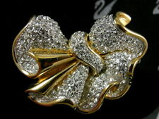 SIGNED SWAROVSKI RUFFLE BOW PIN~BROOCH 22 KT GOLD PLATING RETIRED RARE NEW