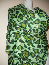NEW LEOPARD GREEN SCARF PASHMINA SCARVES SHAWLS LARGE STOLE GIFT NIGHT PARTY