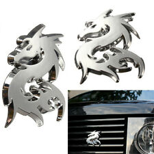 3D Silvery Dragon Car Emblem Decal Chrome Metal Badge Sticker Auto Motor Decor