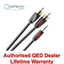 QED Profile Jack to 2 RCA Phono J2P Aux Auxiliary Audio Cable Lead 1m - QE2717