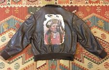HUGO BOSS Aviator/ Bomber Leather Jacket Brown L Indian Chief Motif RARE RRL RL