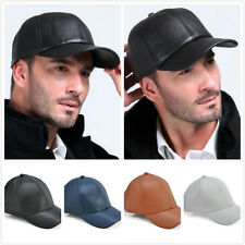 Solid Black Leather Adjustable Motorcycle Biker Baseball Cap Mens Womens Hat New