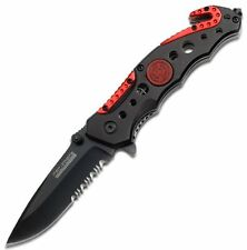 TAC Force TF-723FD Assisted Opening Tactical Folding Knife, Black Half-Serrated
