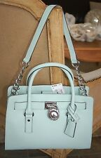 MICHAEL KORS Hamilton E /W Tote Celadon BLUE GREEN SAFFIANO LEATHER NEW NWT $298