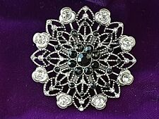 LOVELY VINTAGE JEWELLERY ART DECO JET BLACK RHINESTONE BROOCH LACE  PIN