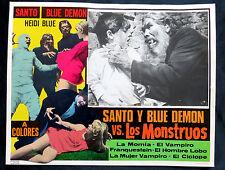 """""""SANTO Y BLUE DEMON VS. LOS MONSTRUOS"""" FRANKENSTEIN DRACULA LOBBY CARD PHOTO 69"""