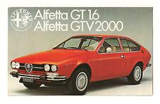 Depliant Brochure ALFA ROMEO ALFETTA GT 1.6 e GTV 2000 anni '70 originale