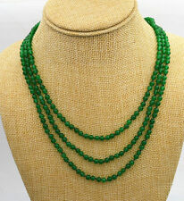 "NEW Fashion jewelry 3 rows 4mm green Emerald bead necklace 17-19 ""AAAA++"