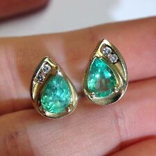 2 CTW Natural Colombian Emerald Pear and Diamond 10K Yellow Gold Earrings