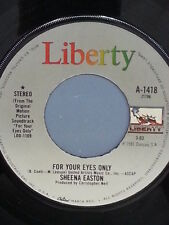 """SHEENA EASTON 45 RPM """"For Your Eyes Only"""" From Original Motion Picture VG++ cond"""