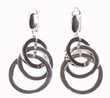 Modern & Ultra Chic - Chrome Hoop Trio & Easy Clip on Metal Earrings(Zx212)