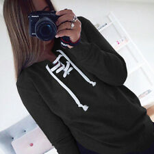 Womens Lace Up Hoodie Sweater Tops Ladies Sweatshirt Pullover Jumper Tops Blouse