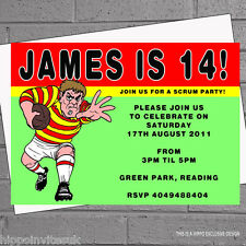 Personalised Boys Rugby Player Birthday Party Invitations x 12  with envs
