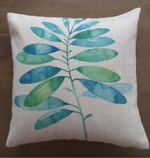 Watercolour Painting Teal & Green Leaves Linen Look Cushion Cover 45cm