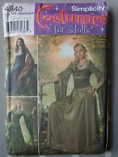 """Uncut Simplicity 4940 Medieval Costume Sewing Pattern Bust 32.5 34 36 38 40"""""""