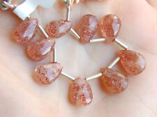 Natural Sunstone Faceted Pear Briolette Gemstone Beads (02270)