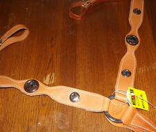 NEW Gundersen Products Contoured Breast Collar Dbl Ply Tan Detail Star Conchos
