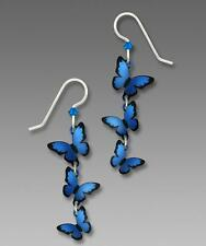 Sienna Sky Earrings Sterling Silver Hook Cascading 3D Blue Morpho Butterflies