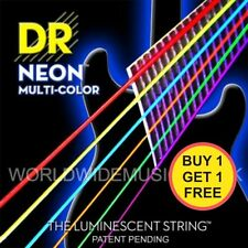 TWIN PACK of DR NEON Multi Coloured Fluorescent Electric Guitar strings 10-46