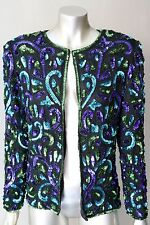 Trophy Blazer Embellished Vintage 80s Sequin Silk Cocktail Party Jacket Coat M