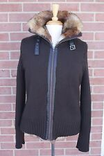 Orvis Wool Blend Sweater Jacket Brown Woman's Faux Fur Lined Size Medium