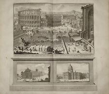 stampa antica colosseo Deseine 1704 old print kupferstich rome halma colosseum