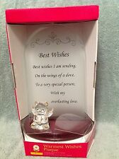 """Rite of Spring """"Best Wishes"""" Inspirational Message Plaque w/ Sculpted Glass Bear"""