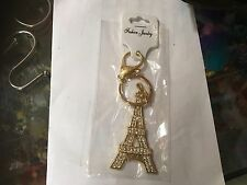 EIFFEL TOWER GOLD TONE CRYSTAL BLING KEYRING KEY CHAIN GIFT FASHION NEW