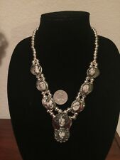 OLD COIN Jewelry Silver (.720) & Genuine WHITE BUFFALO Turquoise Squash Blossom