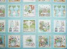 Antique GARDENING fabric squares 100% cotton 112cm wide x 2 rows= 22 pictures