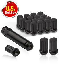20 Black 7 Spline Lug Nuts 14x1.5 Car Truck Locking Wheel Lugs + Security Key US