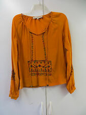 WHAT GOES AROUND COMES AROUND PUMPKIN SILK FLORAL PRINT PEASANT BLOUSE SZ SMALL