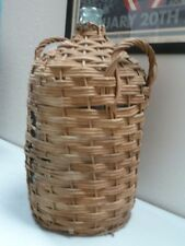 Woven Wicker Large Wine Bottle Jug blue  Glass  20""