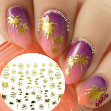 12Sheets/set Gold 3D Nail Art Stickers Cross Rose Flower Tree Design Decals Tips