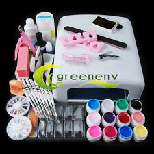 Pro Full 36W White Cure Lamp Dryer + 12 Color UV Gel Nail Art Tools Sets Kits MT