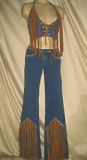 Brazilian moleton jeans XS lace-up denim fringe vest spandex blue 6 hippie Samba