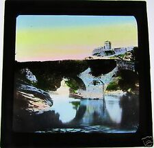 COLOUR Glass Magic lantern slide LOURDES BRIDGE C1900 FRANCE