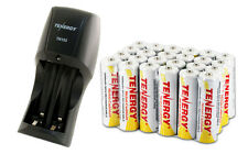 Combo:Tenergy TN153 2-Bay Standard Battery Charger + 24 AA 1000mAh NiCD